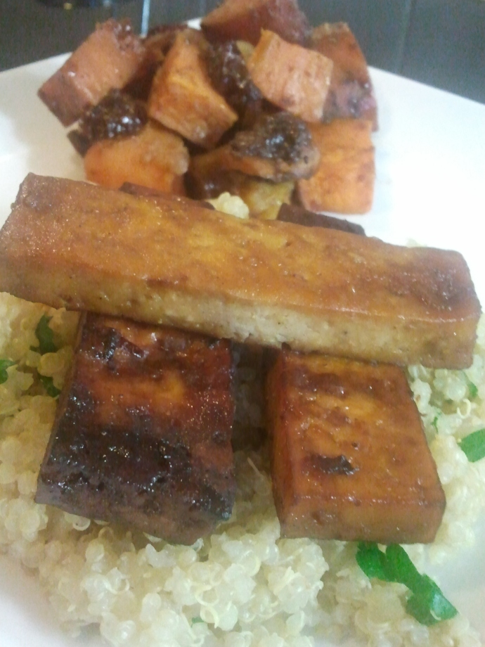 Oranged Baked Tofu (front); Sweet Potato and Pear Tzimmes with Macadamias and Raisins (back)