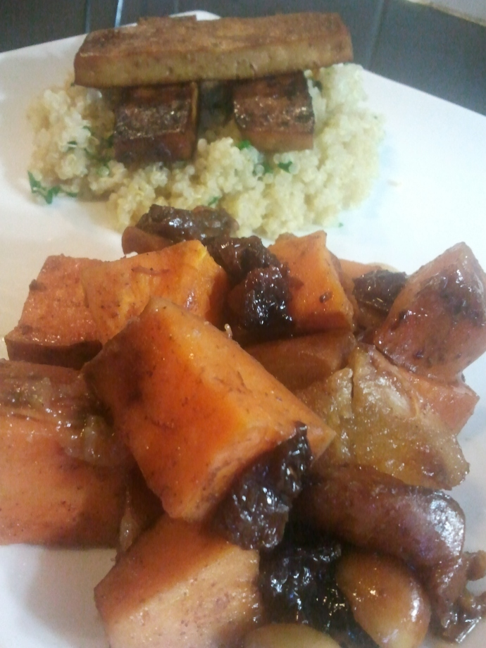 Sweet Potato and Pear Tzimmes with Macadamias and Raisins (front); Oranged Baked Tofu (back)