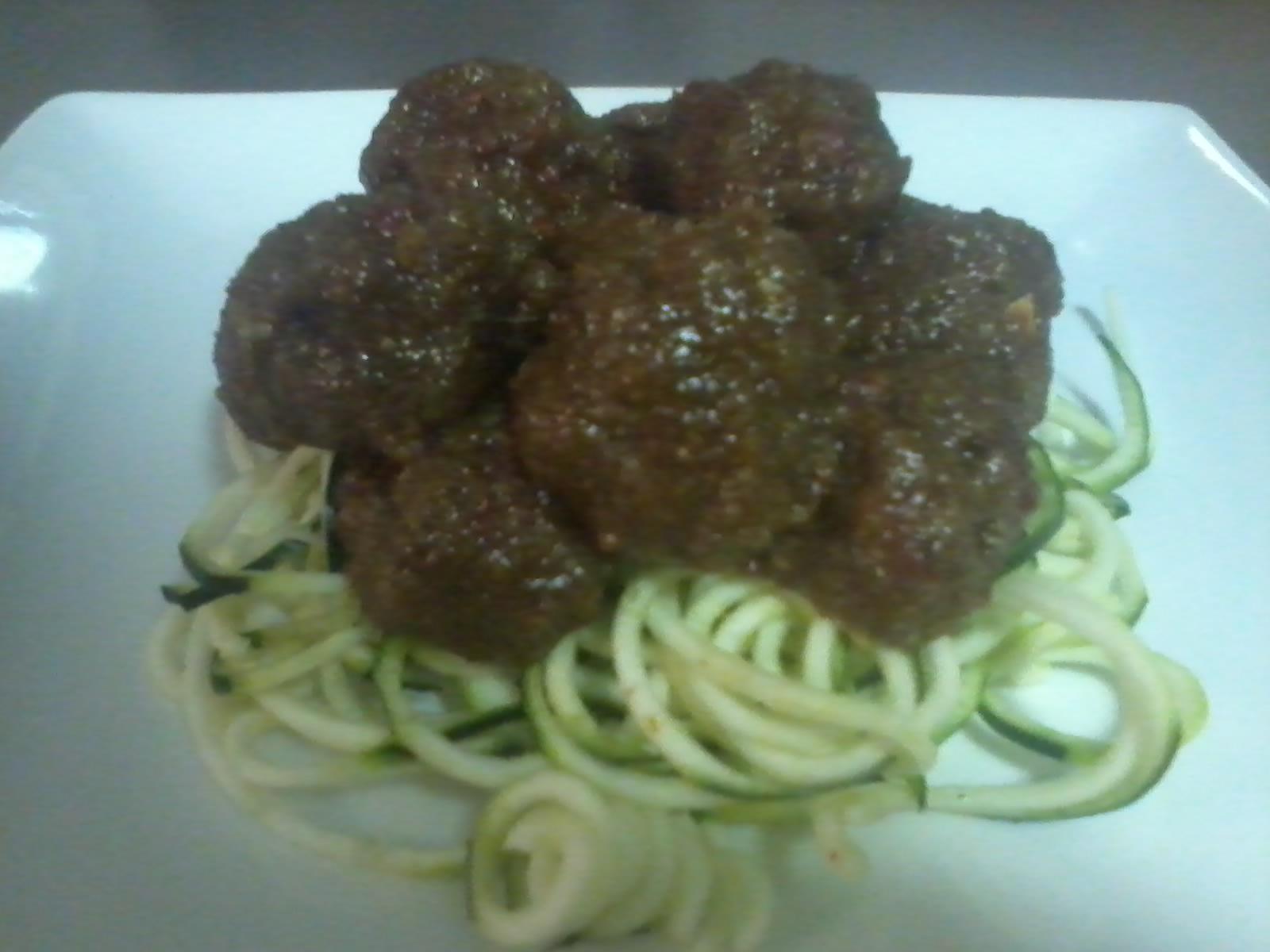 Zucchini spaghetti with walnut 39 meatballs 39 for Zucchini noodles and meatballs recipe