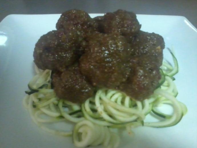 Zucchini Spaghetti with Walnut 'Meatballs'