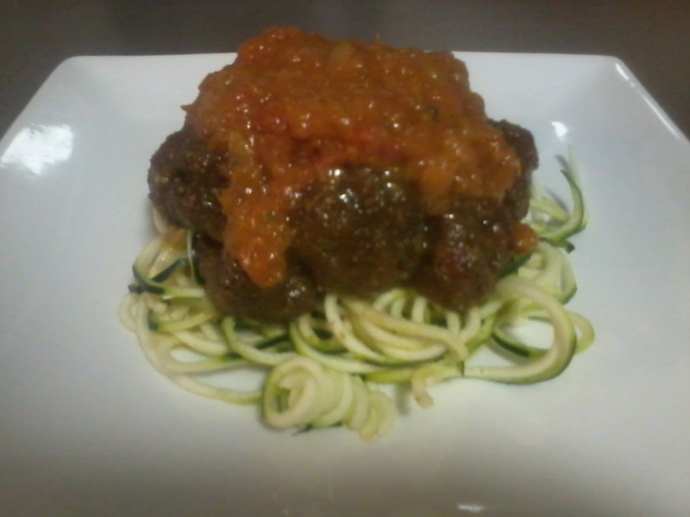Zucchini Spaghetti with Walnut 'Meatballs' and Tomato Passata